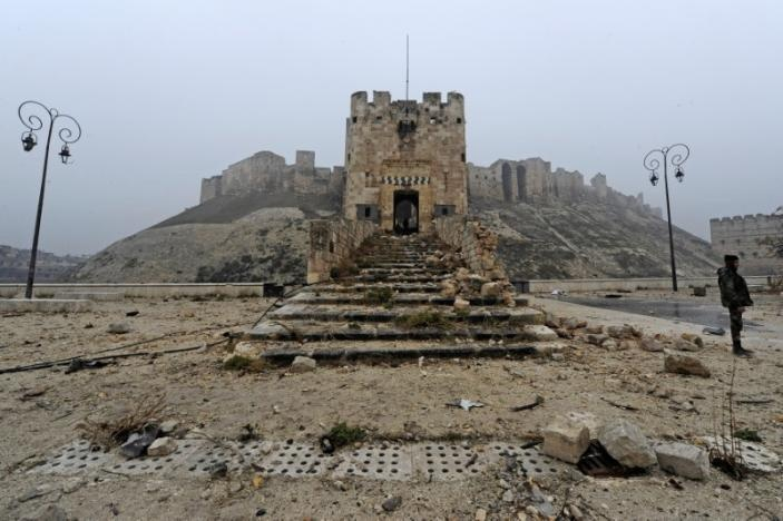 A member of forces loyal to Syria's President Bashar al-Assad stands in front of Aleppo's historic citadel, during a media tour, Syria December 13, 2016. Reuters