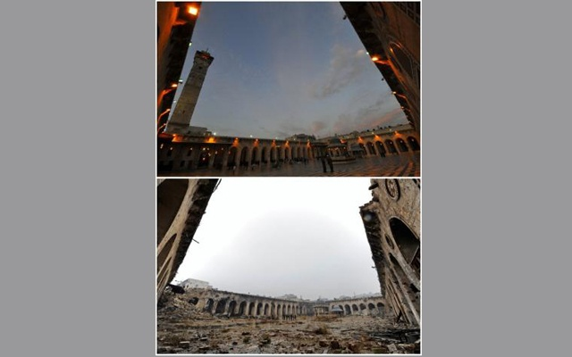A combination picture shows Aleppo's Umayyad mosque, Syria, before it was damaged on March 12, 2009 (top) and after it was damaged December 13, 2016. REUTERS/Omar Sanadiki