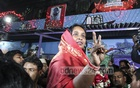 Awami League candidate Selina Hayat Ivy flashing a victory sign after winning the race for re-election as Narayanganj City Corporation mayor on Thursday. Photo: asif mahmud ove