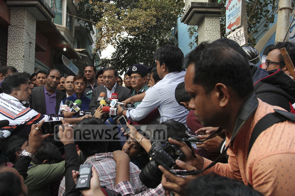 Home Minister Asaduzzaman Khan speaks to reporters on Saturday following a police raid on a militant hideout in Dhaka's Ashkona. Photo: asif mahmud ove