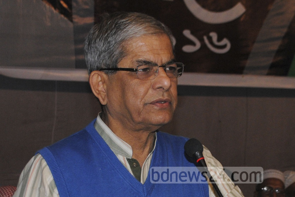 BNP Secretary General Mirza Fakhrul Islam Alamgir attends the ninth session of Khelafat Majlis's General Assembly at Gazipur's Kazi Bashir Auditorium on Sunday.
