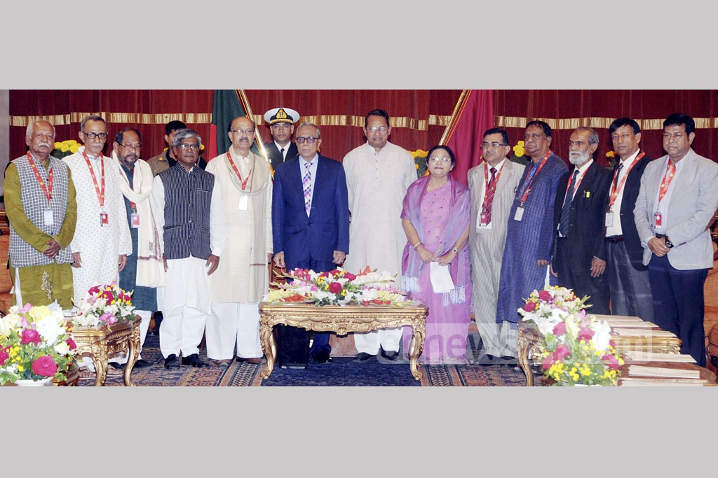 A delegation of Jatiya Samajtantrik Dal, led by Hasanul Haq Inu, met President Md Abdul Hamid at the Bangabhaban on Monday as part of the ongoing dialogue to form the next Election Commission.