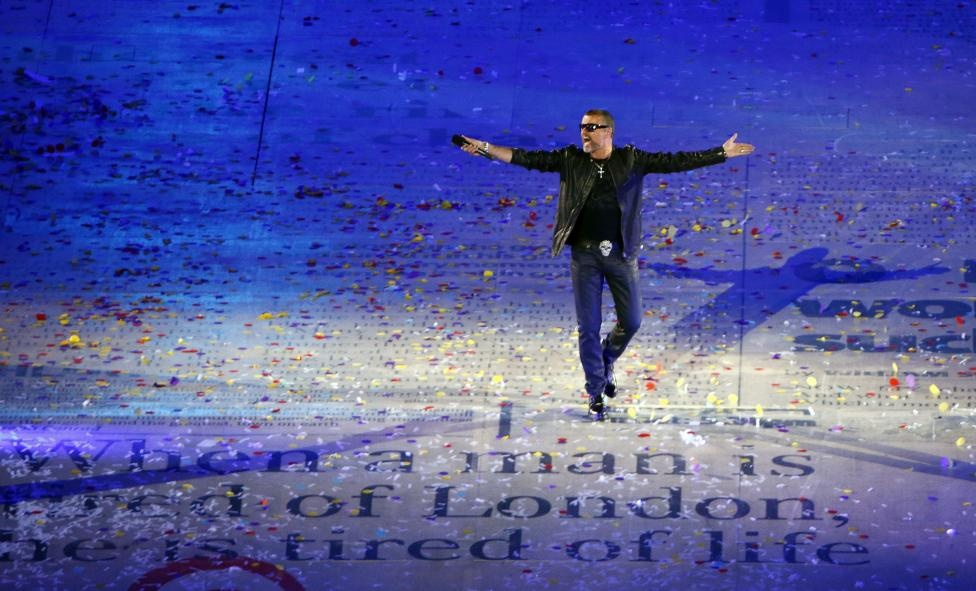 George Michael performs during the closing ceremony of the London 2012 Olympic Games at the Olympic Stadium August 12, 2012. Reuters