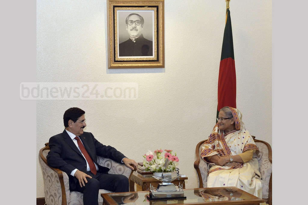 Hamad Bin Abdulaziz Al-Kawari, an adviser at the Amiri Diwan, the royal palace of Qatar, visits Prime Minister Sheikh Hasina at her office on Tuesday.