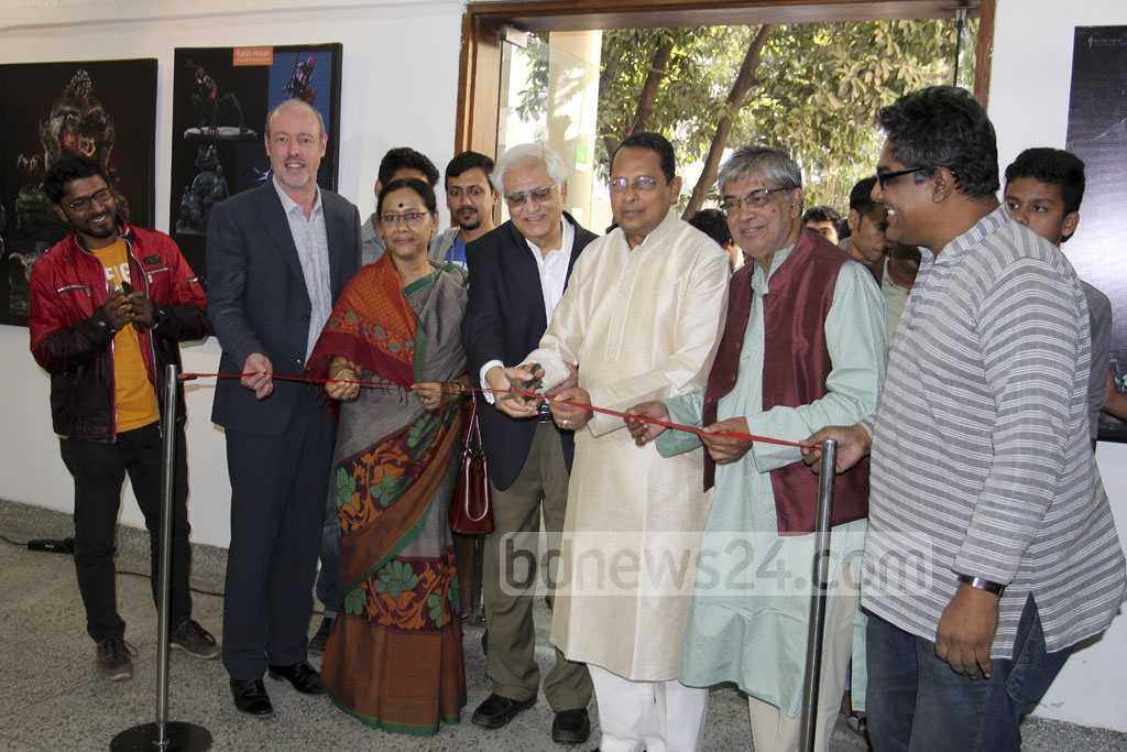 Information Minister Hasanul Haq Inu inaugurates the Animation Festival at Alliance Française in Dhaka's Dhanmondi on Friday.