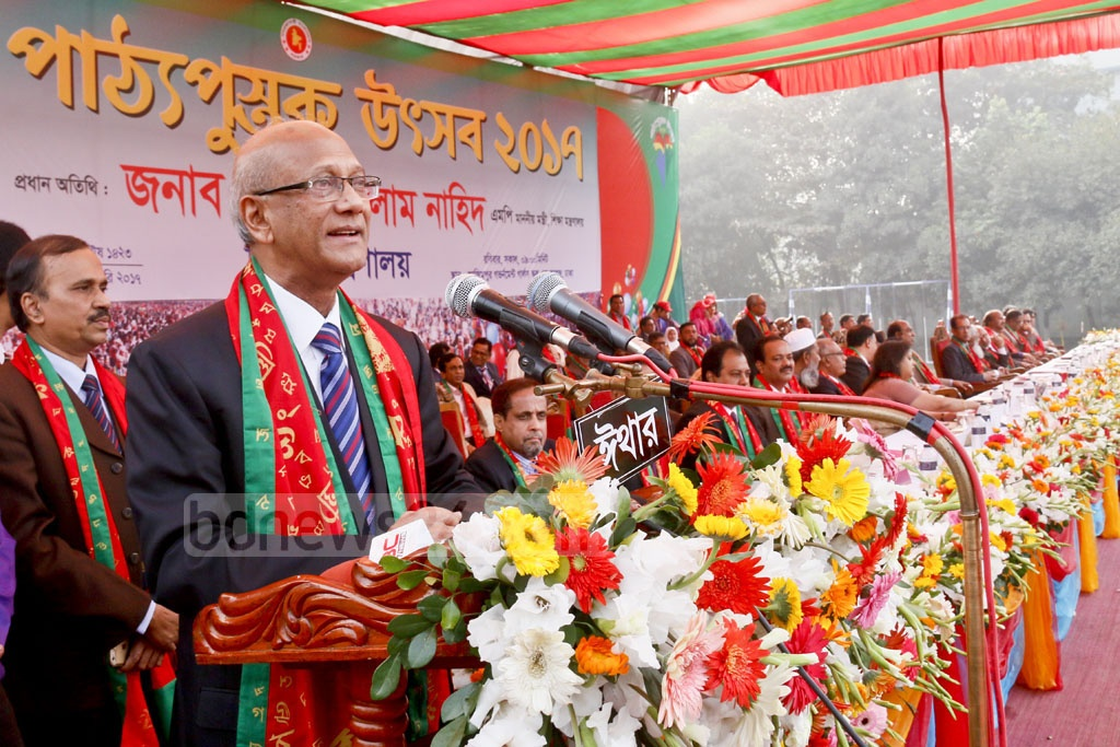 Education Minister Nurul Islam Nahid speaks at the Textbook Festival at Azimpur Government Girls' School and College in Dhaka. Photo: asif mahmud ove