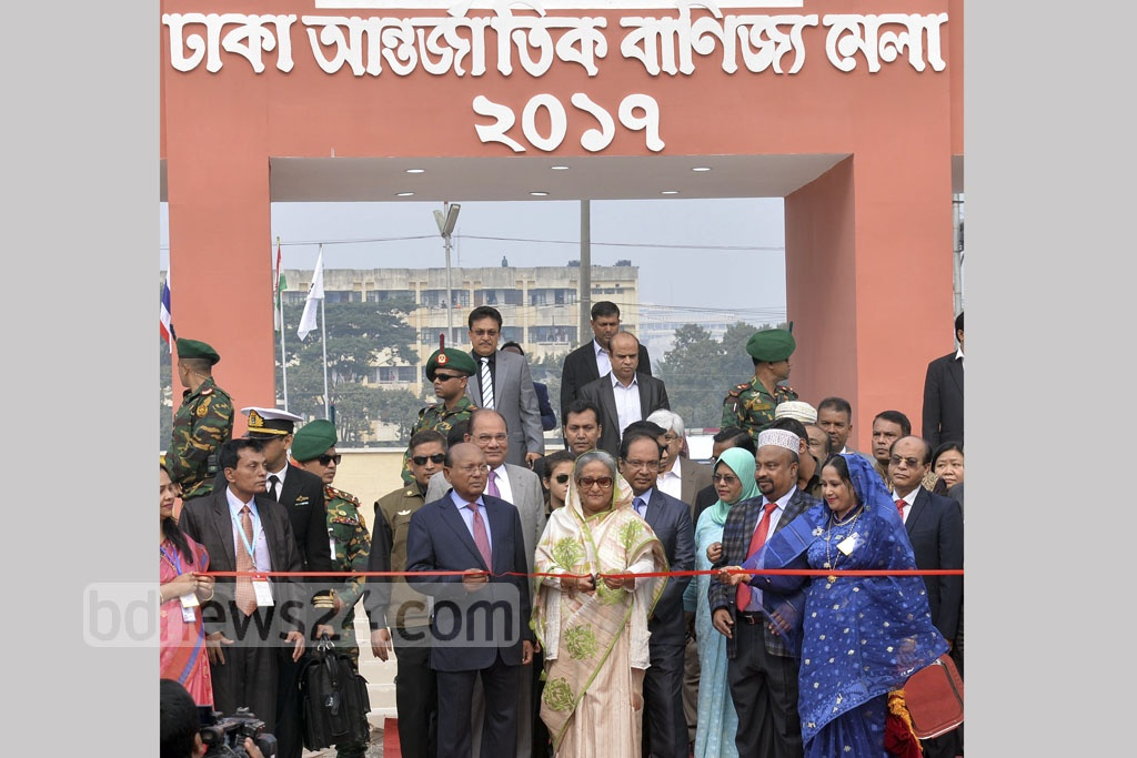 Prime Minister Sheikh Hasina inaugurates the month-long Dhaka International Trade Fair 2017 at Sher-e-Bangla Nagar on Sunday. Photo: PID