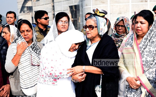 Prime Minister Sheikh Hasina consoles the widow of MP Monjurul Islam Liton after his namaz-e-janaza on Monday at the Parliament premises. Photo: Saiful Islam Kallol