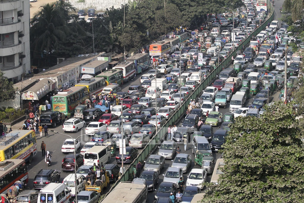 Dhaka commuters are plunged into traffic chaos as Bangladesh Chhatra League celebrates its 69th founding anniversary. Photo: asif mahmud ove