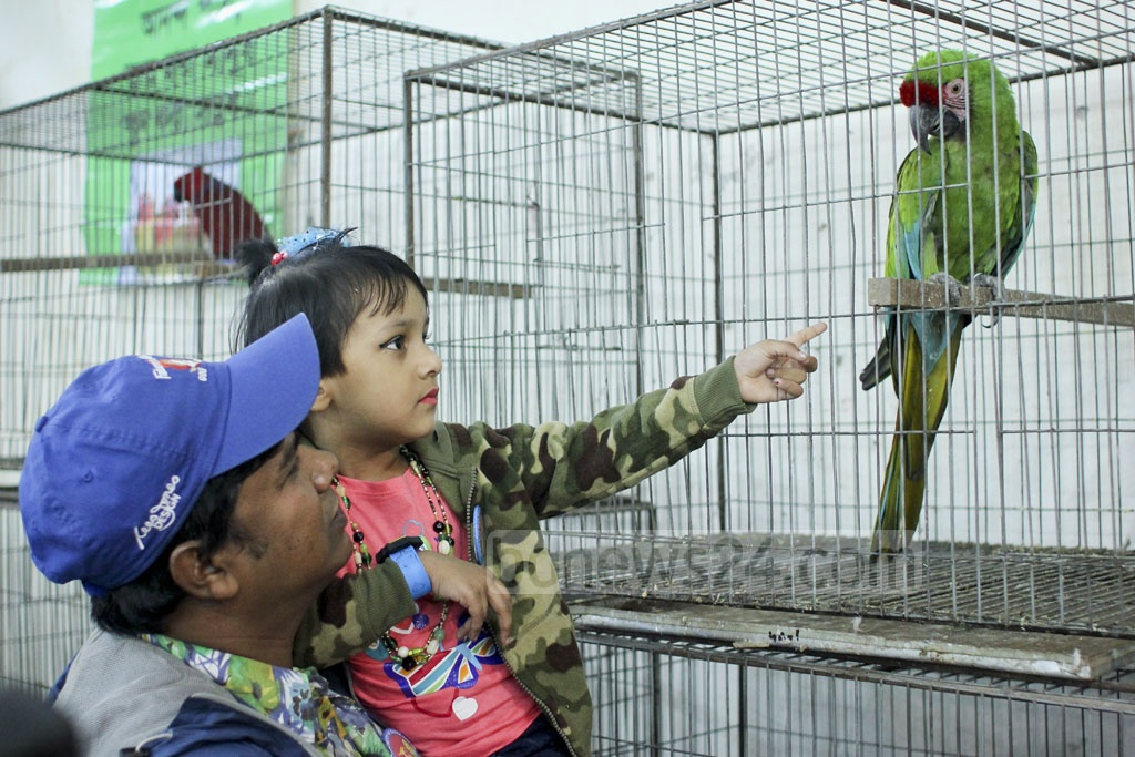 Visitors at the two-day bird show being held at the National Press Club on Thursday. Photo: asaduzzaman pramanik
