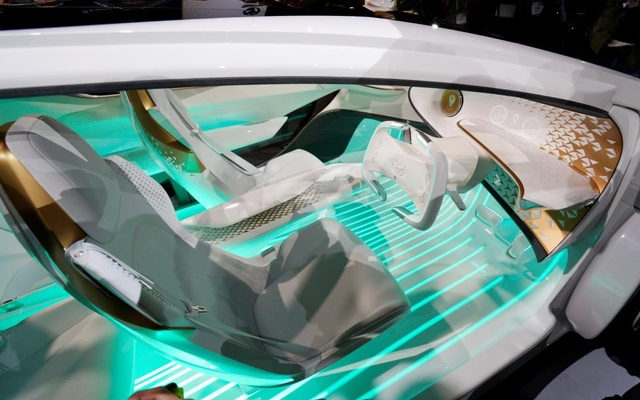 The new Toyota Concept-i concept car, designed to learn about its driver, is unveiled during the Toyota press conference. Reuters