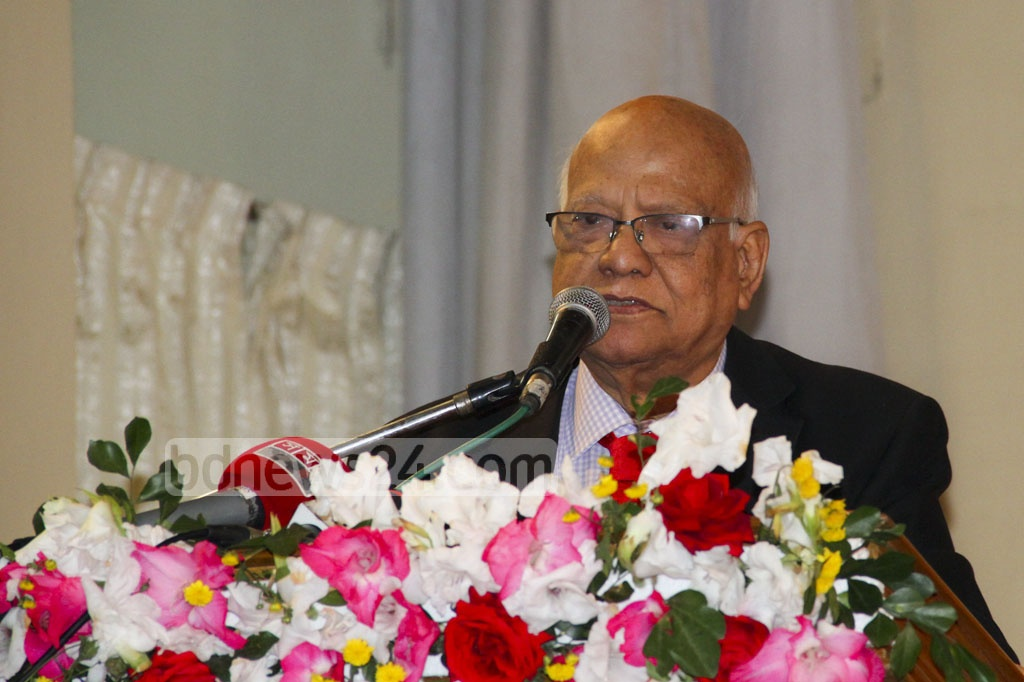 Finance Minister AMA Muhith speaking at the third reunion of Shamsunnahar Hall Alumni Association on Friday. Photo: abdul mannan
