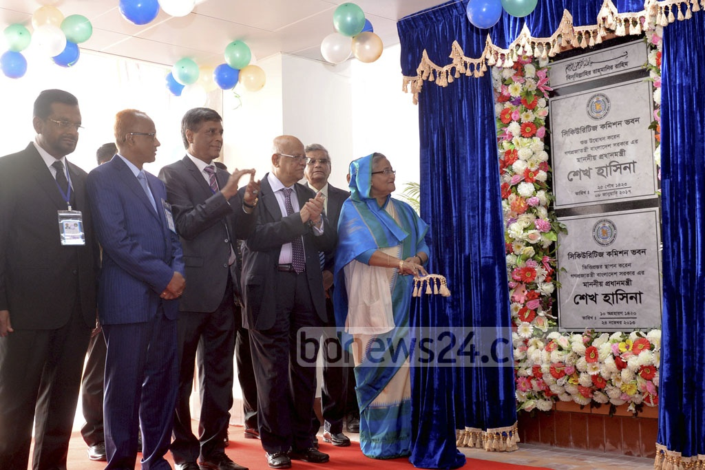Prime Minister Sheikh Hasina inaugurates a new office building for the Bangladesh Securities and Exchange Commission at Agargaon. Photo: PID