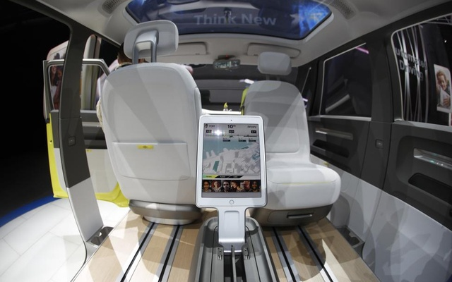 Interior view of the Volkswagen I.D. Buzz electric concept vehicle. Reuters