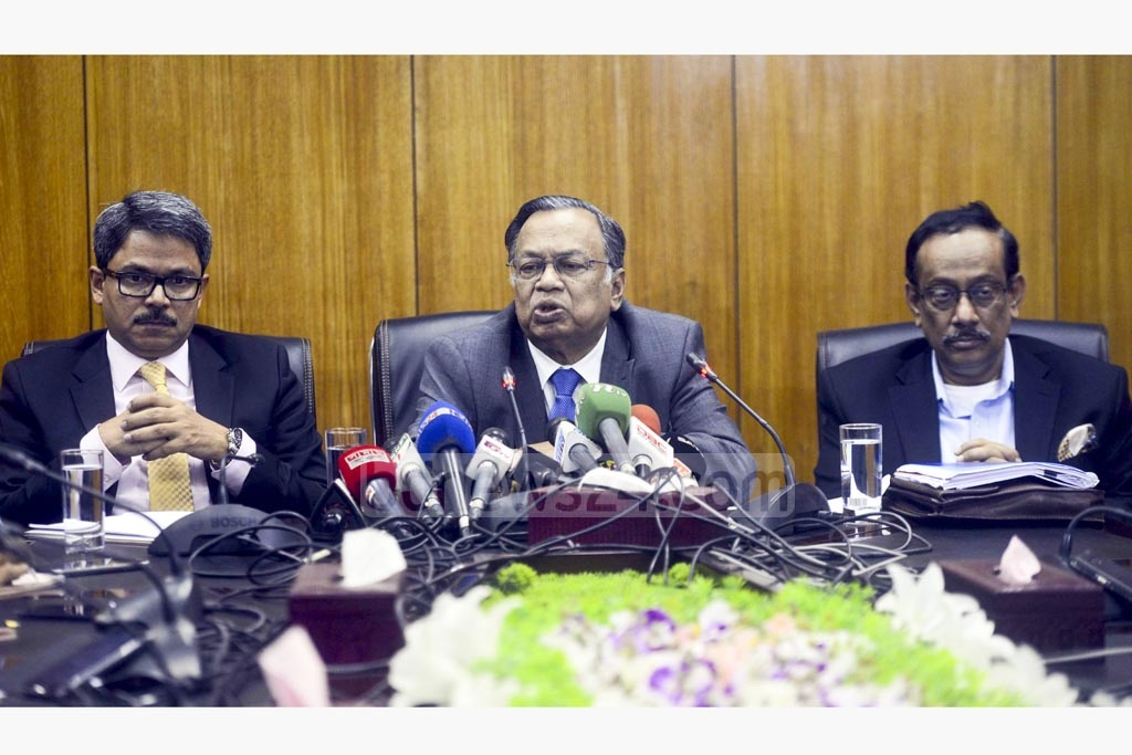 Foreign Minister AH Mahmood Ali briefing the media about the meeting with visiting Myanmar State Minister for Foreign Affairs U Kyaw Tin on Thursday.