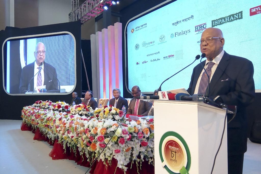 Finance Minister AMA Muhith addressing the inauguration ceremony of the Bangladesh Tea Expo in the capital's International Convention City Bashundhara on Thursday.