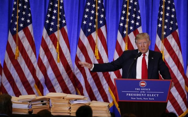 US President-elect Donald Trump speaks during a news conference in the lobby of Trump Tower in Manhattan, New York City, US, January 11, 2017. Reuters