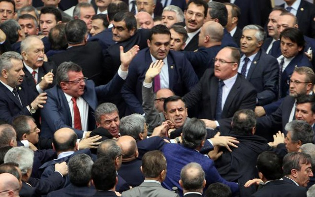 Turkish deputies brawl during debate on constitutional reform