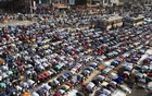 Devotees offer Juma prayers on the first day of the Biswa Ijtema, one of the largest religious congregations of Muslims in the world after Hajj, organised on the bank of the river Turag on Friday.