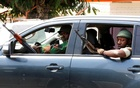 Mutinous soldiers are seen in a car, in Bouake, Ivory Coast January 13, 2017. Reuters