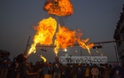 Firebreathing during 'Shakrain', the festival marking the end of Bangla month 'Poush', in Old Dhaka on Saturday.