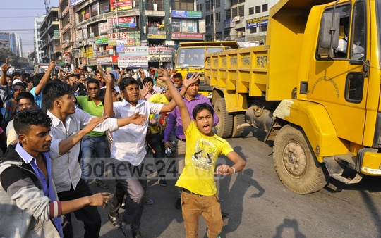 Hawkers brought out a procession to protest against the eviction drive of Dhaka South City Corporation which started clearing the roads and pavements in Gulistan and adjacent areas occupied by the hawkers.