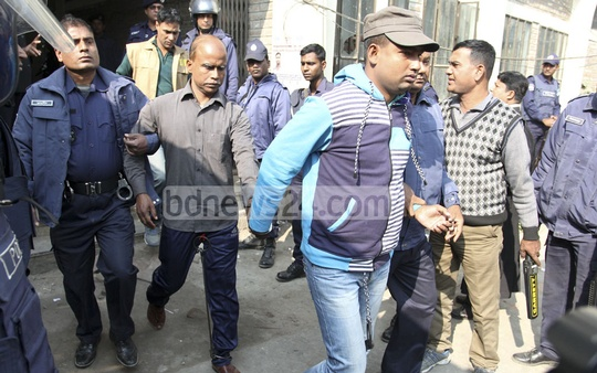 The convicts of Narayanganj seven-murder case are being taken to jail from court after the verdict was pronounced on Monday. Of the 35 convicts, 26 have been awarded death sentence and nine given jail terms at various length.