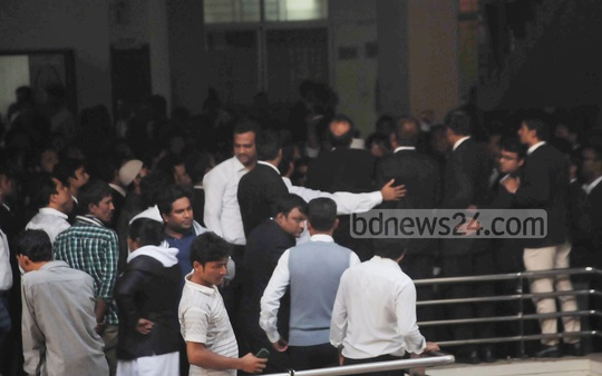 A group of lawyers demonstrate at the court building premises in Chittagong on Wednesday after a court denied bail of one of their colleagues in a human trafficking case.