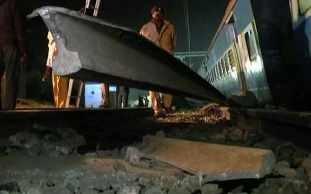 A portion of broken railway track is seen after coaches of a Hirakhand express train from Jagdalpur to Bhubaneswar derailed near Kuneri station, Andhra Pradesh, outside the town of Rayagada, in this still image from video Jan 22, 2017. ANI via Reuters TV