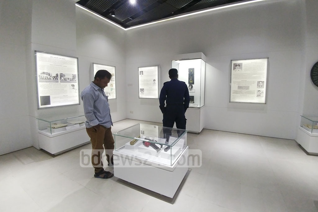 People visit the Liberation War Museum of Bangladesh Police after its inauguration at Rajarbagh Police Lines on Tuesday.