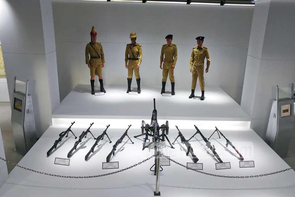 Exhibits from the 1971 war don the inner hall of the Liberation War Museum of Bangladesh Police, inaugurated at the Rajarbagh Police Lines on Tuesday.