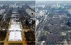 A combination of photos taken at the National Mall shows the crowds attending the inaugurationceremonies to swear in US President Donald Trump at 12:01pm (L) on January 20, 2017 and President Barack Obama on January 20, 2009, in Washington, DC, US. Reuters