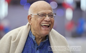 Finance Minister AMA Muhith, the most senior alumnus, laughing his heart out.