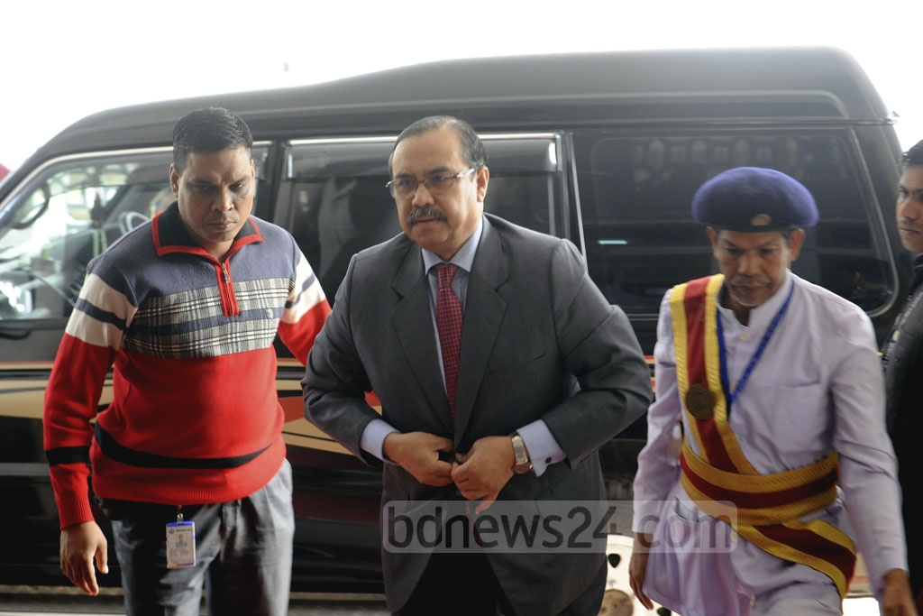 Justice Obaidul Hassan arrives at the Supreme Court Judge's Lounge for the first meeting of the Election Commission search panel on Saturday.