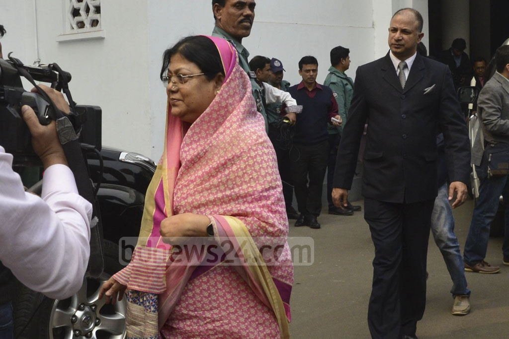 Chittagong University Pro-Vice Chancellor Shireen Akhter leaves the Supreme Court Judge's Lounge after the first meeting of the Election Commission search panel on Saturday.