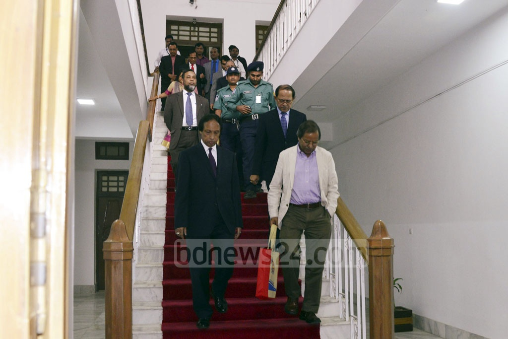 Election Commission search panel members PSC chairman Muhammed Sadique, Dhaka University Professor Syed Manzoorul Islam, Chittagong University Pro-Vice Chancellor Shireen Akhter, CAG Masud Ahmed and Cabinet Secretary Mohammad Shafiul Alam leave after the first meeting at the Supreme Court Judge's Lounge.