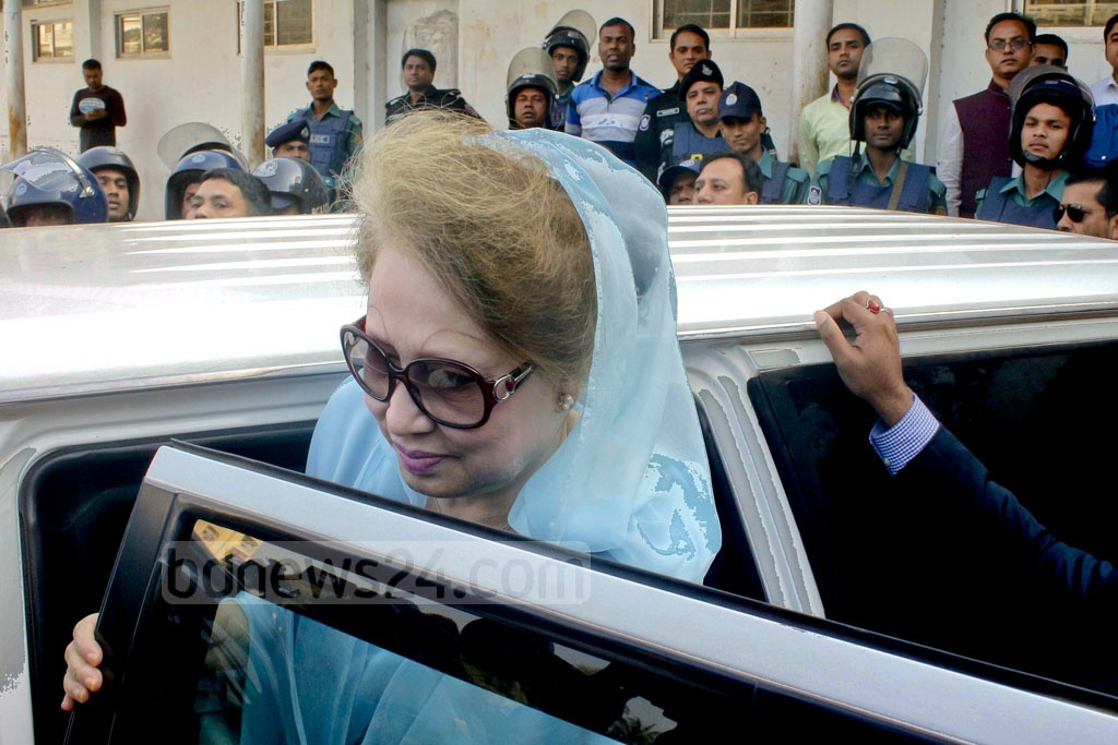 BNP Chairperson Khaleda Zia appears before a court in Dhaka's Bakshibazar to defend herself in Zia Orphanage Trust corruption case on Monday.