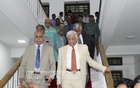 Distinguished citizens emerge after meeting members of the search committee at Supreme Court Judges' Lounge on Monday. Photo: asif mahmud ove