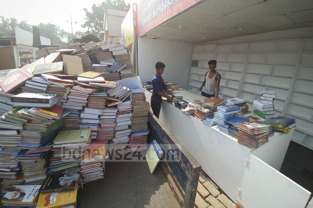 Preparations for Amar Ekushey Book Fair are underway at the Bangla Academy premises. This picture was taken on Tuesday. Photo: abdul mannan