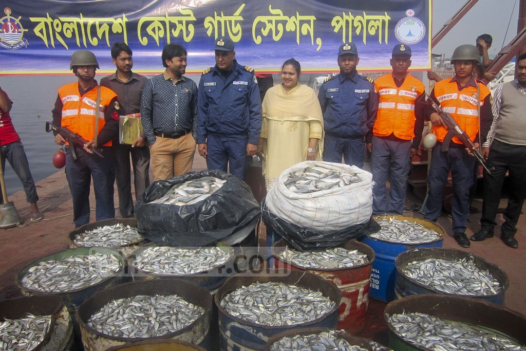 Coast guards seized around 14,000 kg of Hilsha fry on Tuesday after raiding three launches on the Buriganga River in Munshiganj.