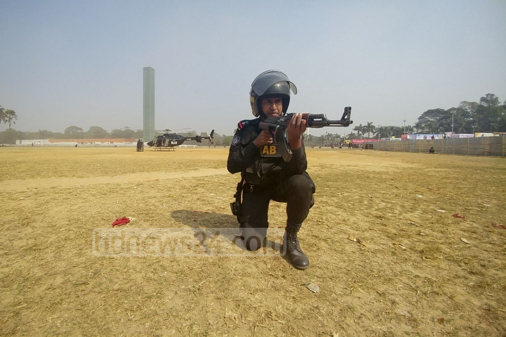 Elite police unit RAB's security drill at the Suhrawardy Udyan on Tuesday, a day before the month-long Ekushey Book Fair kicks-off. Photo: abdul mannan