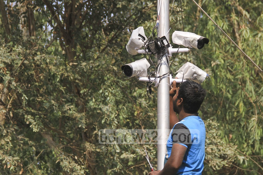 Closed Circuit cameras have been installed in and around the Ekushey Book Fair venue to ensure security. Photo: abdul mannan