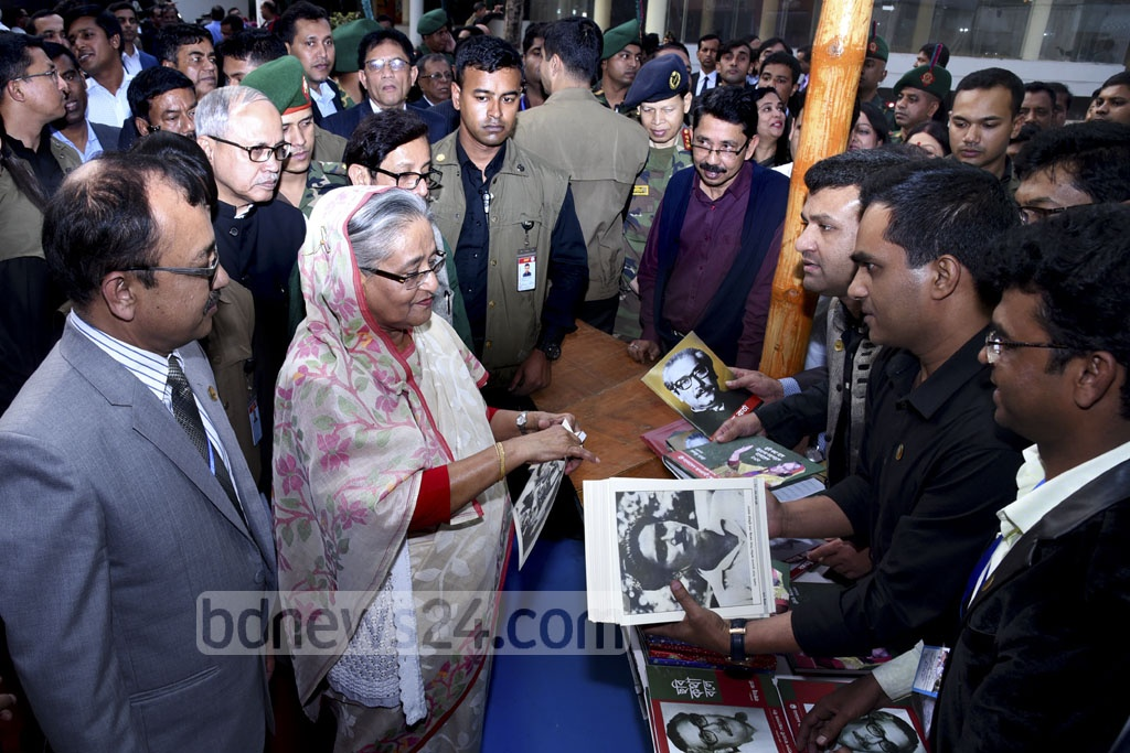 Prime Minister Sheikh Hasina visits a stall on the first day of Amar Ekushey Book Fair being held at Bangla Academy premises throughout February. Photo: Saiful Islam Kallol