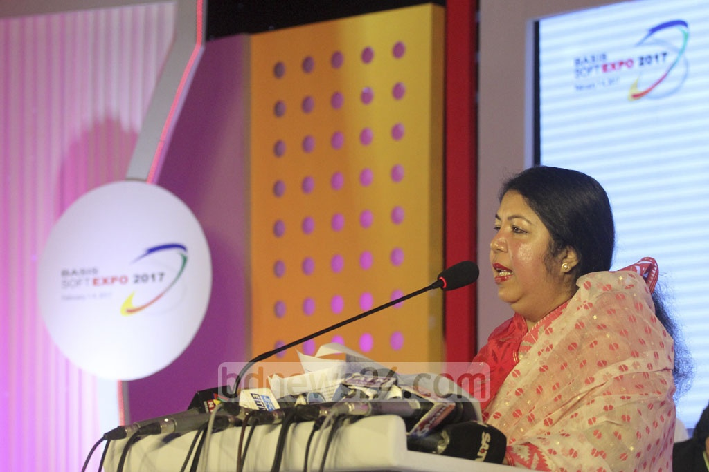 Speaker Shirin Sharmin Chaudhury speaks at the inaugural ceremony of the 'BASIS Softexpo 2017' at the Bangabandhu International Conference Centre in Dhaka on Wednesday. Photo: asif mahmud ove