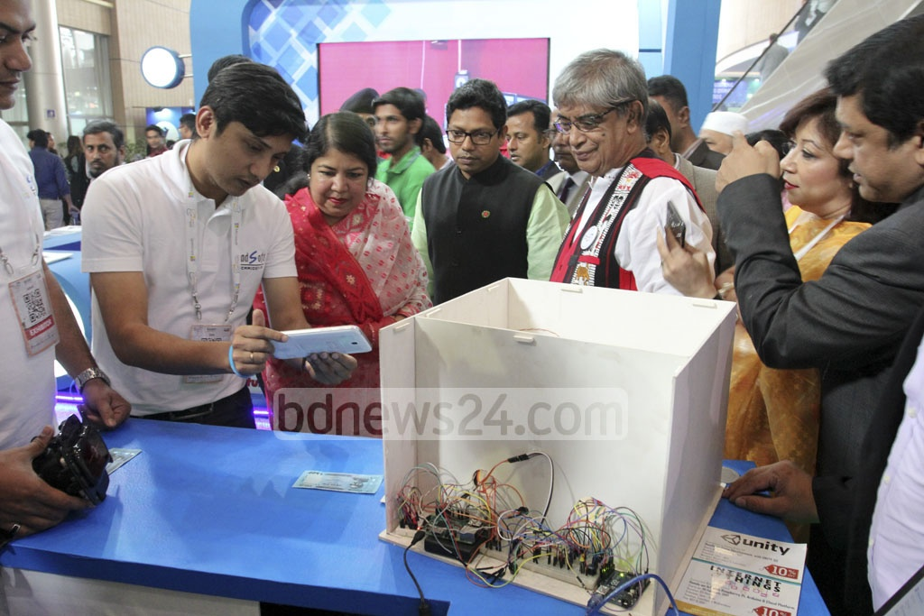 Speaker Shirin Sharmin Chaudhury visits stalls after the inaugural ceremony of the 'BASIS Softexpo 2017' at the Bangabandhu International Conference Centre in Dhaka on Wednesday. Photo: asif mahmud ove