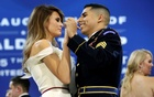 US First Lady Melania Trump dances with army services member at the Armed Services Ball in Washington, US, January 20, 2017. Reuters
