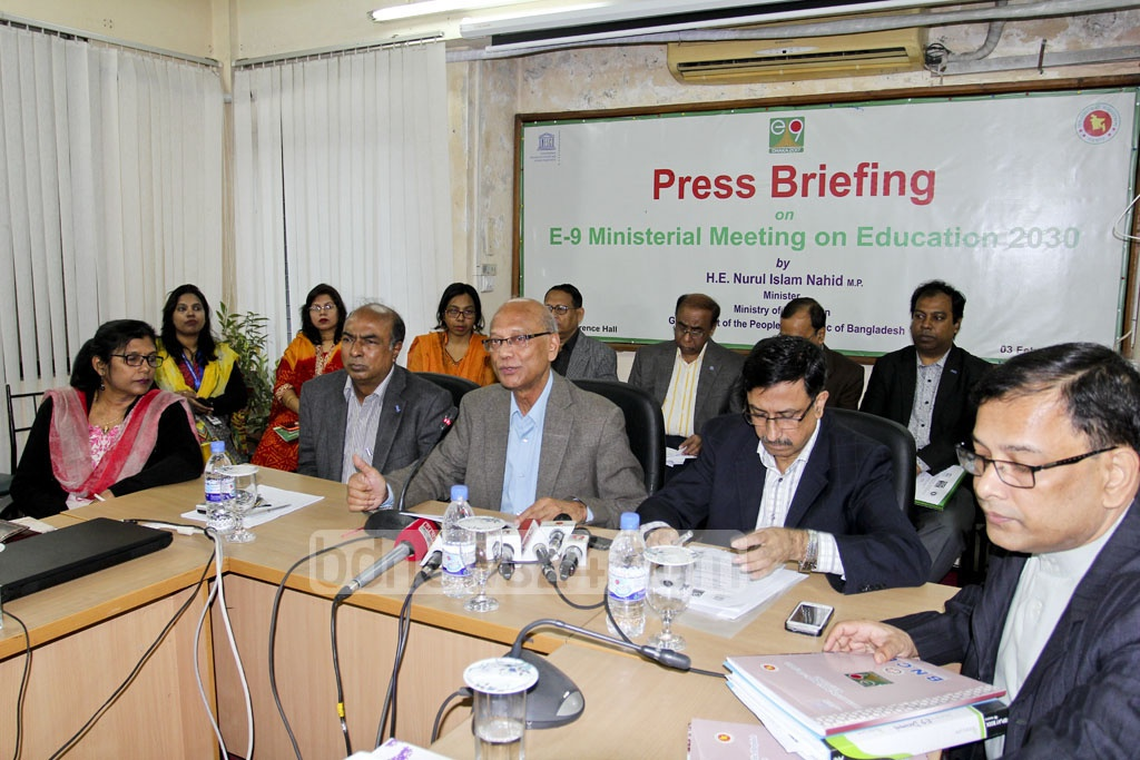Education Minister Nurul Islam Nahid briefs the press on Friday, before education ministers from nine developing countries take part in the three-day E-9 Ministerial Meeting next week. Photo: asif mahmud ove