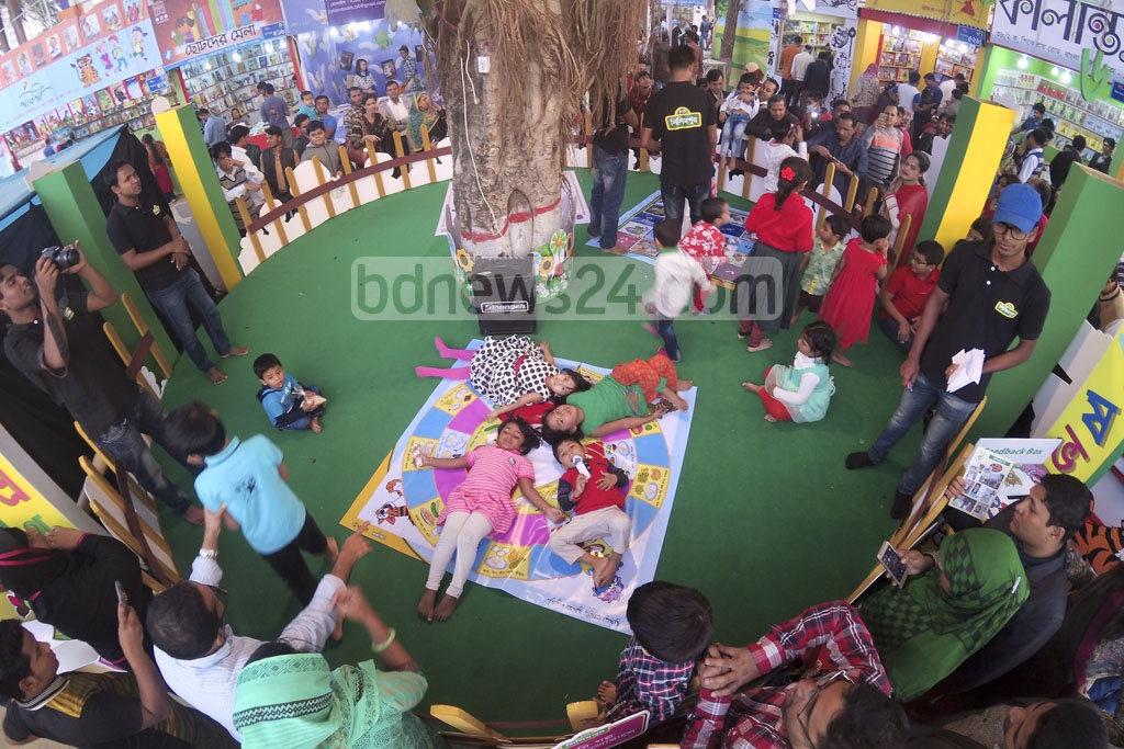Children enjoying the time with playmates during the Children's Hours at Amar Ekushey Book Fair on Friday. Photo: abdul mannan