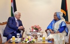 Palestine President Mahmoud Abbas meets Prime Minister Sheikh Hasina at her office on Thursday.