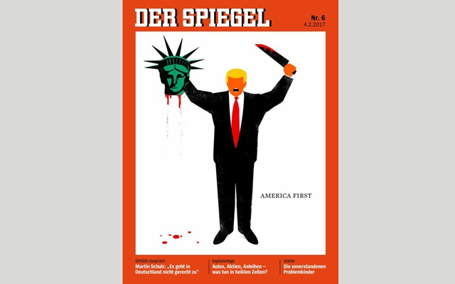 US President Donald Trump is depicted beheading the Statue of Liberty in this illustration on the cover of the latest issue of German news magazine Der Spiegel. Reuters